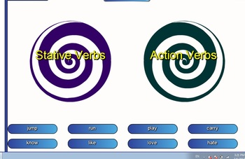 State and action verbs vortex smart board activity