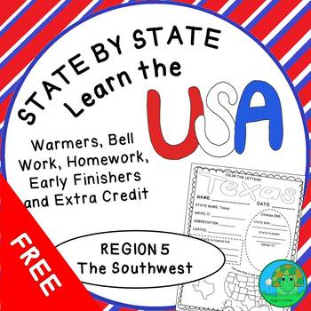 State by State Learn the USA Region 5 The Southwest Worksheets