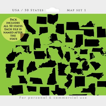 State clipart - states clip art, geographic, geography, map patriotic USA states