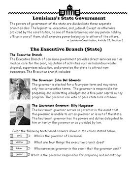 State of Louisiana Booklet 16 - Louisiana's Government & Citizens