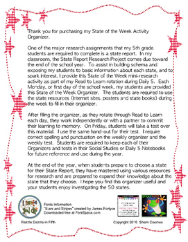 State of the Week Activity and Graphic Organizer