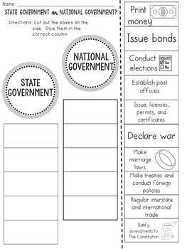 State or Federal Government? Cut and Paste Sorting Activity