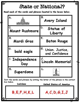 State or National? A Louisiana Symbols Sorting Activity