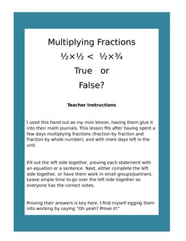 Statements about Multiplying Fractions