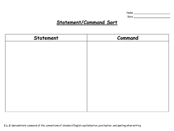 Statements and Commands Practice-EDITABLE! (second grade)