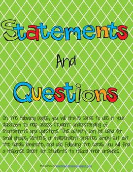 Statements and Questions Task Cards and Response Sheet