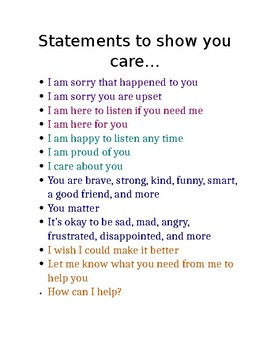 Statements to show you care poster