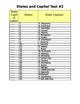 #2 States (1-25) Spelling and Capital Matching Test