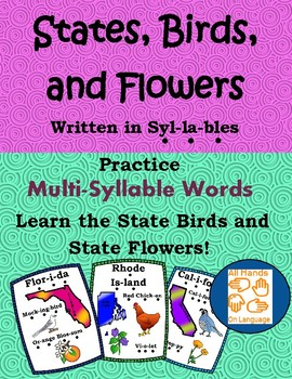 Multi-syllable Flashcards, States, Birds, Flowers Speech Therapy, Social Studies
