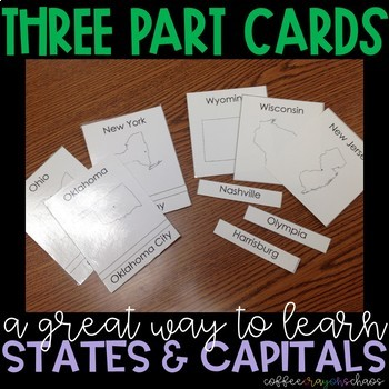 States & Capitals 3 Part Cards