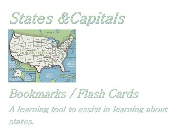 States & Capitals Bookmarks/Flashcards.