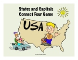 States + Capitals Connect Color Four Printable Geography Game