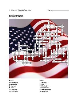 States & Capitals Crossword Puzzle