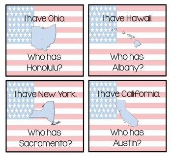 "States & Capitals ""I Have Who Has"" Game"