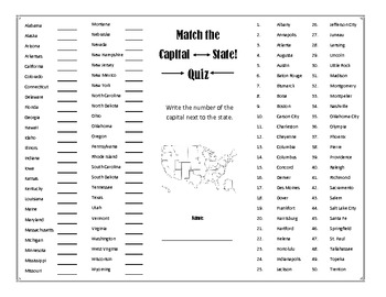 States & Capitals Interactive Activity