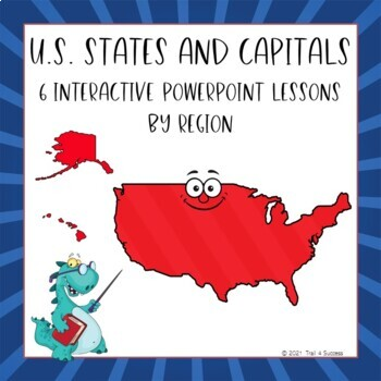 States + Capitals Interactive PowerPoints Bundle All Six Regions of the USA