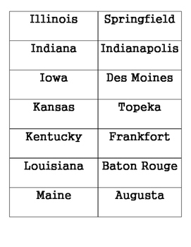 States & Capitals Memory/Matching Game