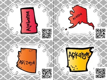 State Capitals QR Code Task Cards