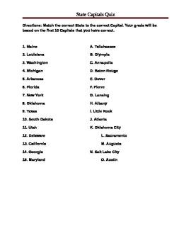 States Capitals Quiz