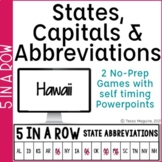 States & Capitals Game | State Abbreviations Games | 5 in a Row
