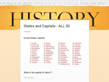 States & Capitals TEST - GOOGLE FORMS