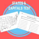 States & Capitals - Test/Quiz