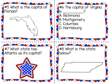 States & Capitals Unit: Printables and Task Cards