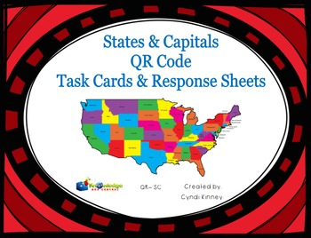 States & Capitols QR Task Cards & Response Sheets