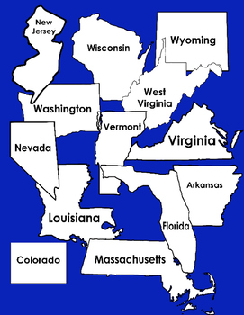 Maps: States Clip Art - Colors, BW, and Transparent - All 50 States
