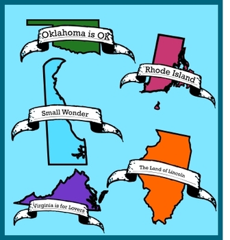 States Clip Art - Outlines, State Color, State Motto and State Slogan