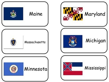 States Flash Cards.  The Flags of the 50 States of the United States of America.