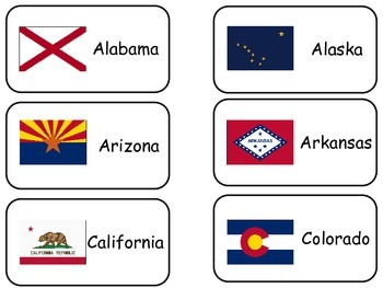 States Flash Cards.  The Flags of the 50 States of the Uni