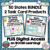 States Identification & State Capitals Task Card BUNDLE AN