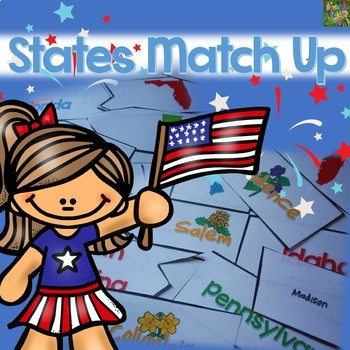 States Match-Up: State Names, Capitals, Postal Abbreviations, State Outlines