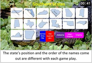States Matching SMART Board Game (Geography / Brain Break)