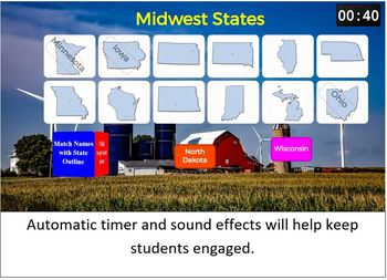 States Matching SMART Board Game (Geography / Brain Break)