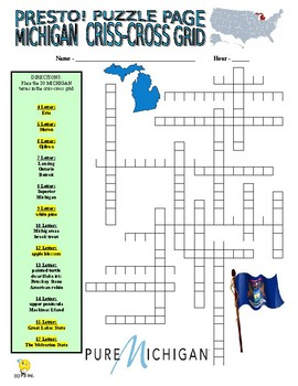 States - Michigan Puzzle Page (Wordsearch and Criss-Cross)