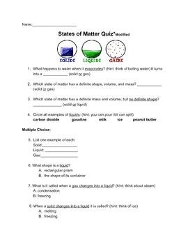 States Of Matter Science Quiz