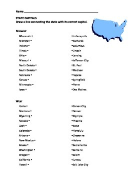 States and Capitals - Matching