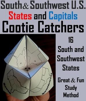 US Geography Unit: States and Capitals Foldable (South and Southwest Regions)
