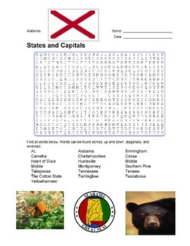 States and Capitals - Alabama State Symbols Wordsearch Puzzle