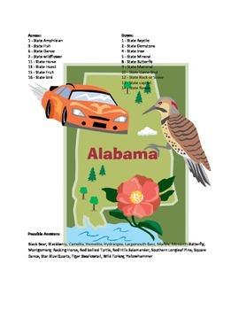 States and Capitals - Alabama State Symbols Crossword Puzzle