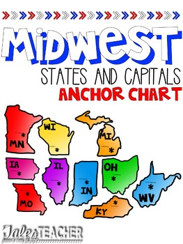 States and Capitals Anchor Chart {Midwest States}