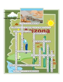 States and Capitals - Arizona State Symbols Crossword Puzzle