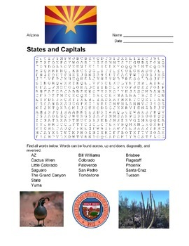 States and Capitals - Arizona State Symbols Wordsearch Puzzle