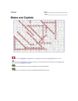 States and Capitals - Arkansas State Symbols Wordsearch Puzzle