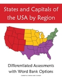 States and Capitals Assessment by Regions