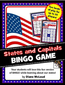States and Capitals BINGO Game - for up to 30 players