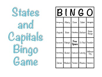 States and Capitals Bingo Game
