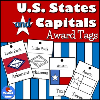 US States and Capitals Brag Tags